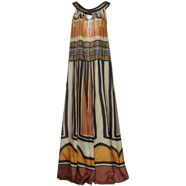 Alberta Ferretti Long Dress ($1,269) ❤ liked on Polyvore featuring dresses, camel, long dresses, multicolored dress, multi-color dresses, sleeveless dress and camel dress