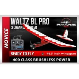 Waltz 400 BL Pro V2 RTF Electric RC Plane  The new Waltz BL Pro is an elegantly styled and crafted 3 channel Trainer RC Airplane. Designed from the ground up to have gentle flight characteristics for the 1st time flyer to learn on. With beautiful streamlined shapes, beautiful color scheme