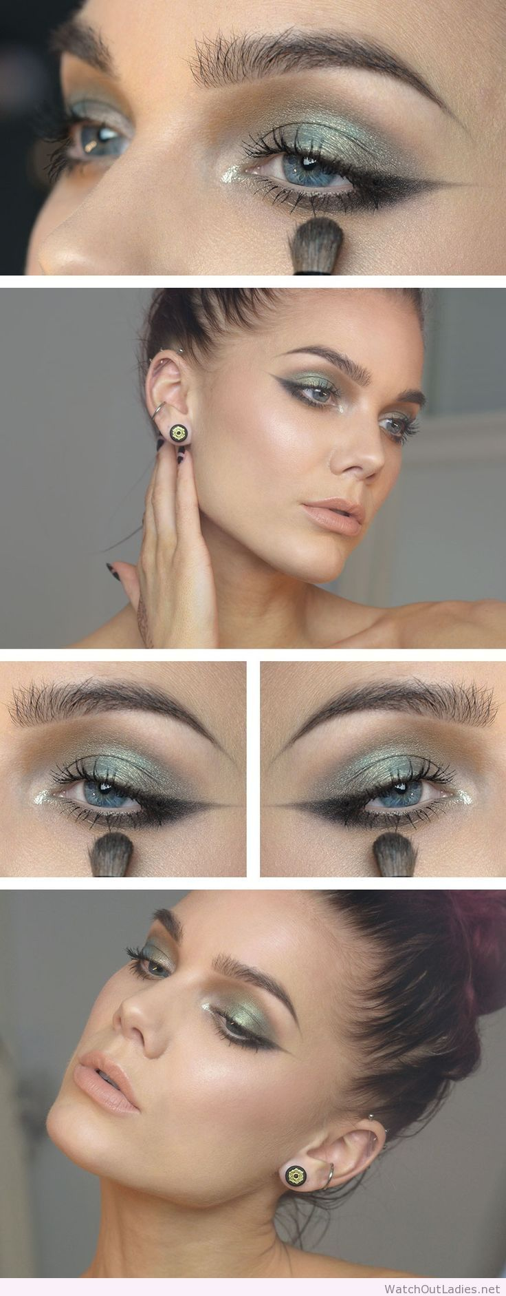 Linda Hallberg green makeup with glitter