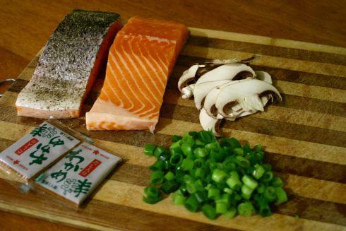 Crispy Skinned Salmon in a Mushroom and Miso Broth - 4 ingredients!