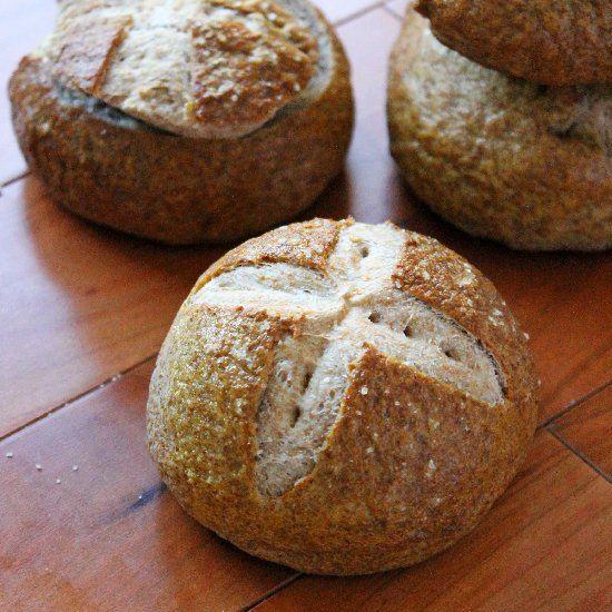 Whole Wheat Pretzel Bread Bowls.