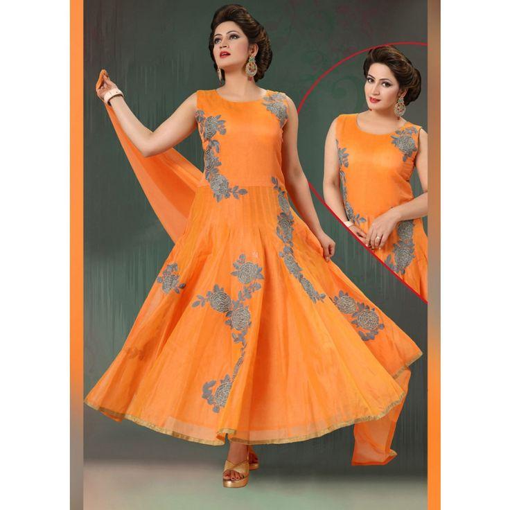 Orange Art Silk Readymade #Anarkali Suits With Dupatta- $78.63