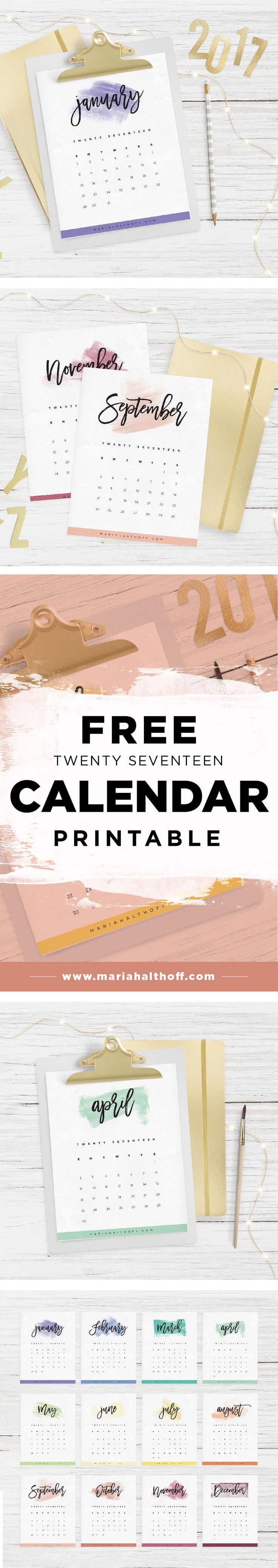 Start planning 2017 with this FREE calendar printable! Stay organized while decorating your desk.
