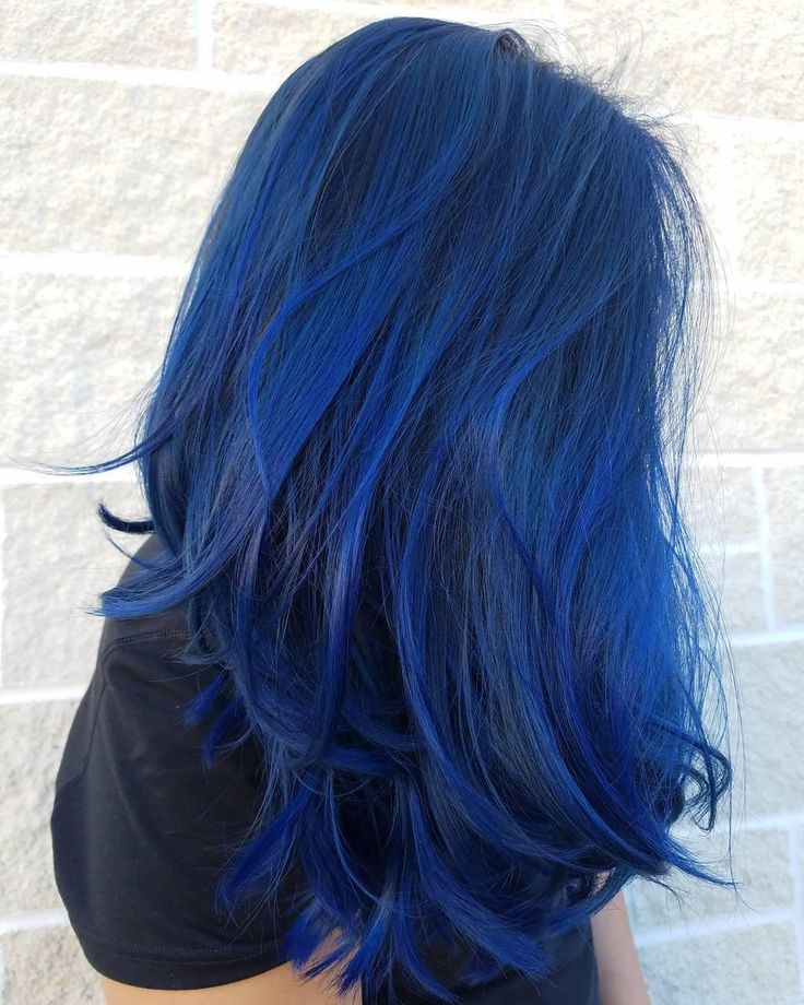 Amazing vibrant sapphire blue Aveda hair color by Aveda Artist Chelsea Lenahan. Formula in comments.