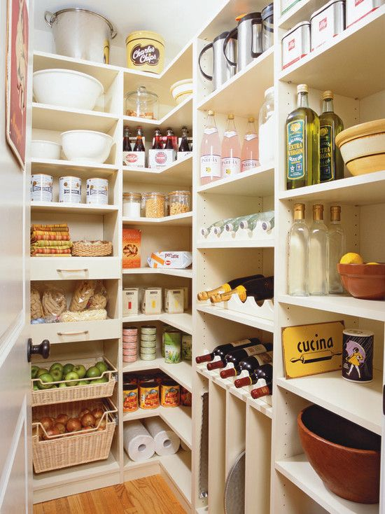 Awesome Pantry Shelves Designs : Fascinating Traditional Kitchen White Simple Pantry Shelves Designs For Many Stuff And Wine Rack