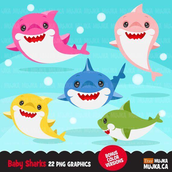 Shark Clipart Cute Colorful Smiling Shark Graphics Shark Etsy Baby Shark Scrapbooking Set Cute Shark