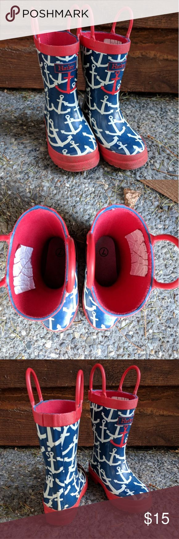 HATLEY Toddler Rain Boots ⚓ Great used condition! These adorable nautical print rain boots by Hatley are great for a boy or girl. Red, white and blue colour scheme goes with tons of outfits! These have been worn by my daughter on and off, but have been very well taken care of. Soles are in near perfect shape and is very limited signs of wear elsewhere on the boots. These are a Size 7, but I marked them as 7.5 as I think they run slightly big. Hatley Shoes Rain & Snow Boots