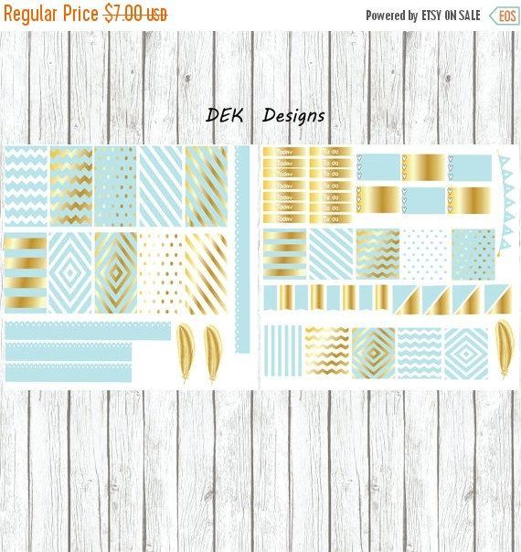 ON SALE Mint and Gold, 2 full size sheets sized for Happy Planner Standard