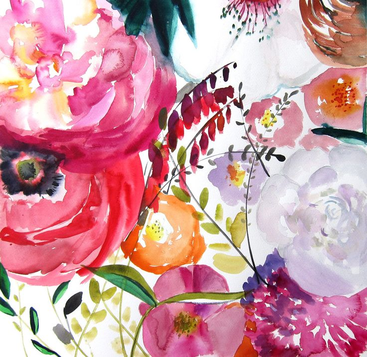 Watercolor Painting Print – Bloom – Floral Illustration – Spring – Large Print 16×16 – Poster – Wall Art – Wall Decor – Watercolor Artwork – Farb Töpfchen