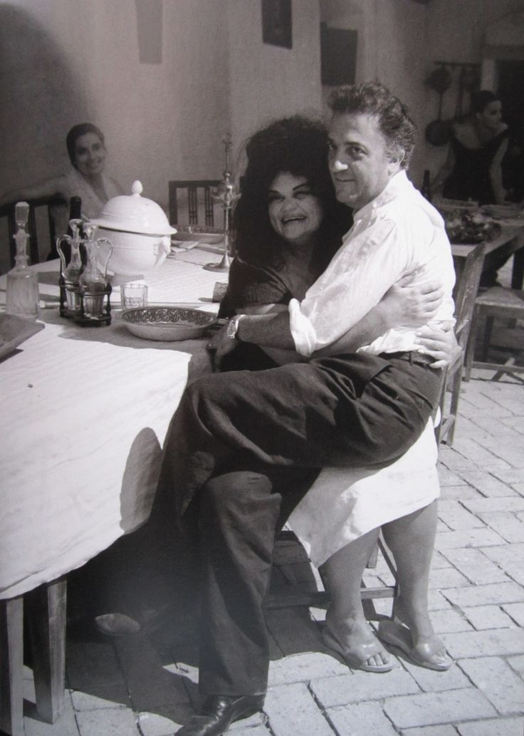 """With Eddra Gale, the unforgettable Saraghina, on the set of """"8½"""" Today her birthday."""