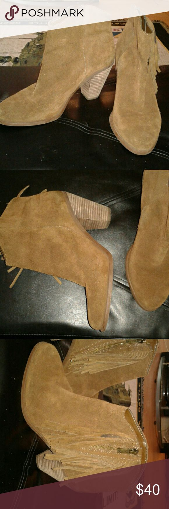 Suede Jessica Simpson Boots Very beautiful Jessica Simpson boots with tassels. I have only worn them a couple of times. Jessica Simpson Shoes