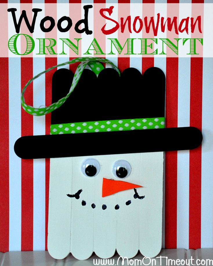 Wood Snowman Ornaments make the perfect Christmas Craft for kids! | MomOnTimeout.com #christmas #craft