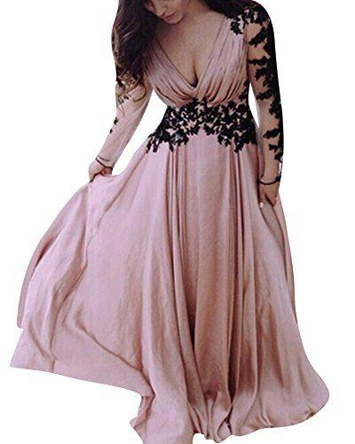Donna Vestiti Lunghi Da Cerimonia Elegante Collo V Vestito A Pieghe Abiti  Da Sera Pink S 3cc416e65da