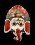 MASQUE NEPALAIS GANESH ELEPHANT INDRA JATRA NEPAL PAPIER MACHE MASK 8187