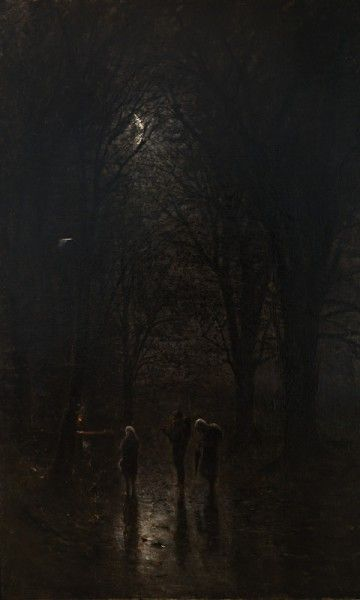 Ladislav Mednyánszky, Night Pilgrims at the Crucifix. Trip through the Forest