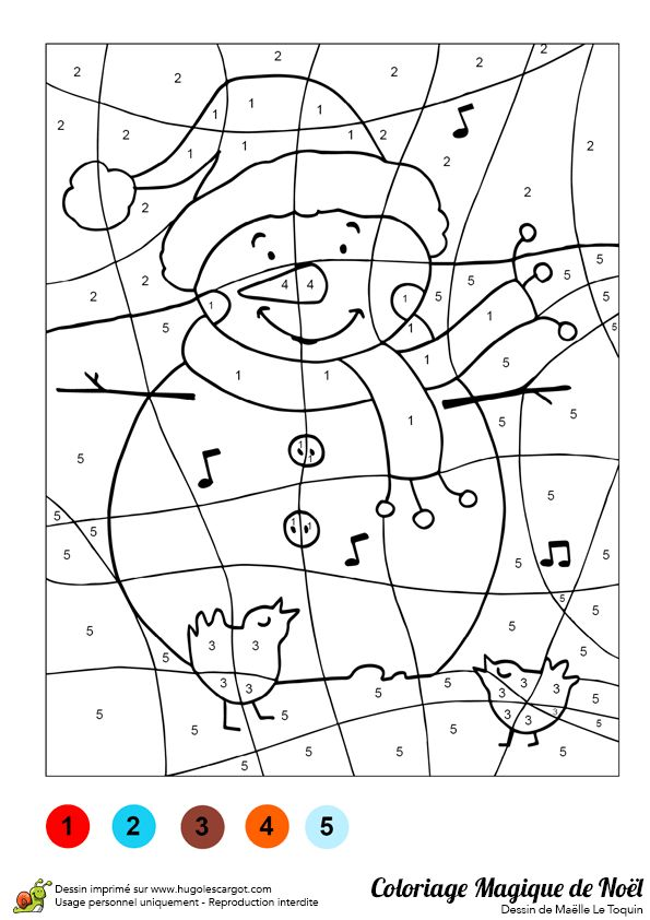 Coloriage magique d'un bonhomme de neige qui chante avec les oiseaux.