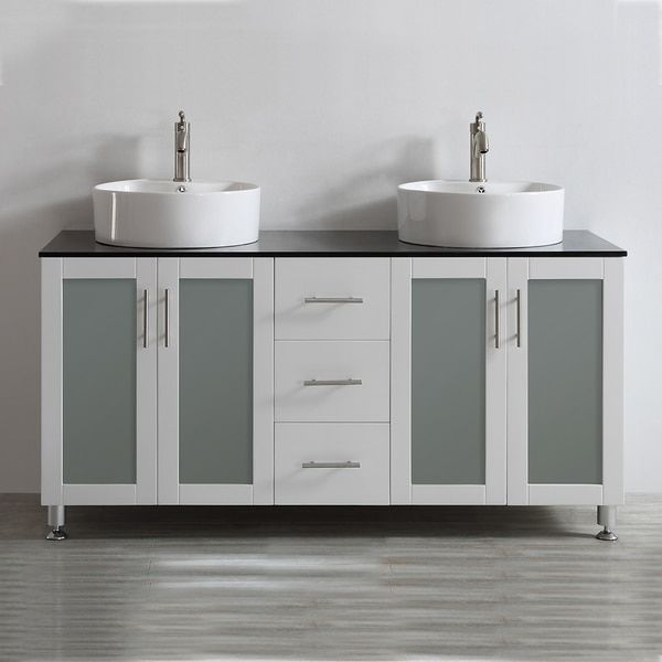 Vinnova Tuscany 60-inch White Double Vanity with White Vessel Sink with Glass Countertop without Mirror