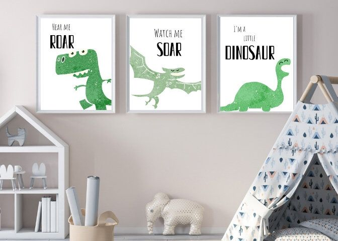 Dinosaur Wall Art Dinosaur Room Boys Room Dino Wall Art Playroom Decor Kids Room Decor Nursery Decor Boys Nursery Kids Wall Art Kid Room Decor Dinosaur Room Kids Bedroom Walls