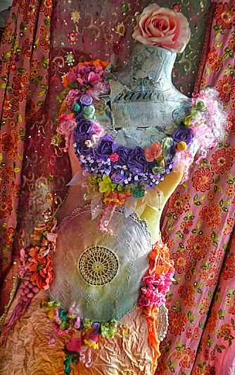 Art To Wear Bohemian Romantic Upcycled dress mori girl fairy Rustic Chic Pretty boho style gypsy dress altered couture dress  Altered couture dress