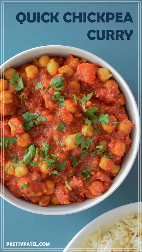 chana masala, Indian currry, chickpea, quick recipe, simple, indian recipe, vegan, gluten free, vegetarian, low carbs, spicy food, authentic l www.prettypatel.com