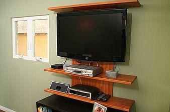 diy wall mounted entertainment center because it makes me smile pinterest tv shelving. Black Bedroom Furniture Sets. Home Design Ideas