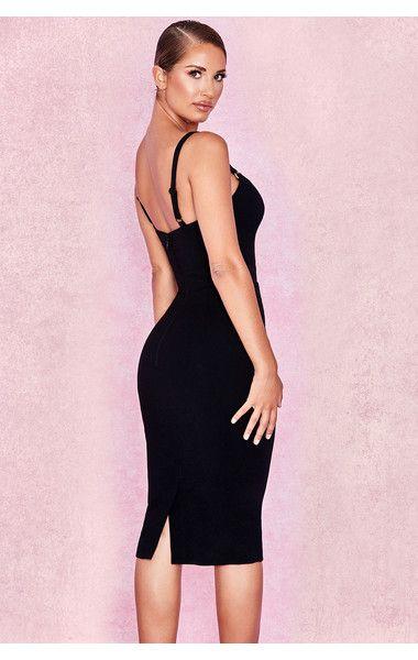 ae5a8561cc5c5 Clothing   Bodycon Dresses    Tessa  Black Crepe Bodice Dress ...