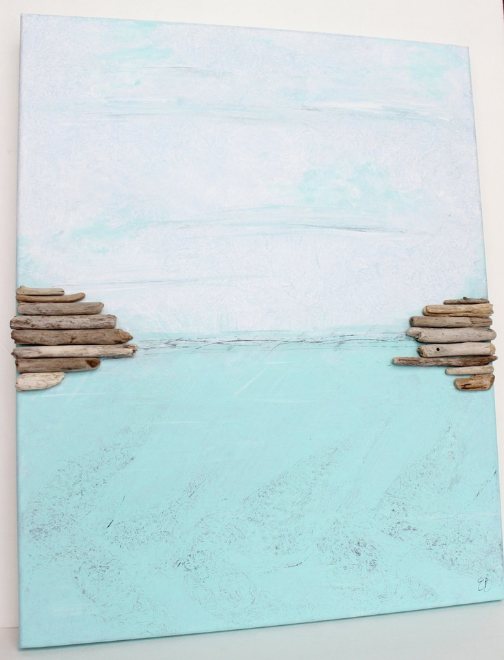 Original Painting 16 X 20  Nautical Inspired  Driftwood Accents One of a Kind Artwork for Beach House Decor. $98,00, via Etsy.