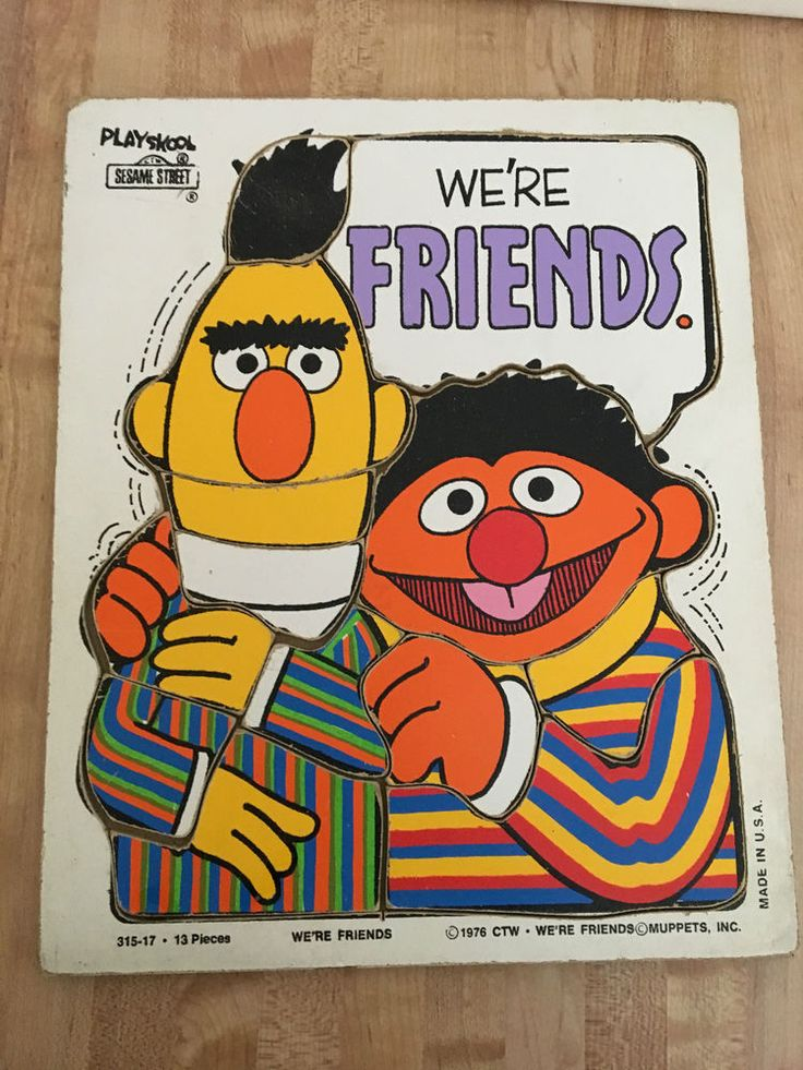 Vintage Playskool Sesame Street Bert Ernie 'We're Friends' 13Pc Wood Tray Puzzle #Playskool