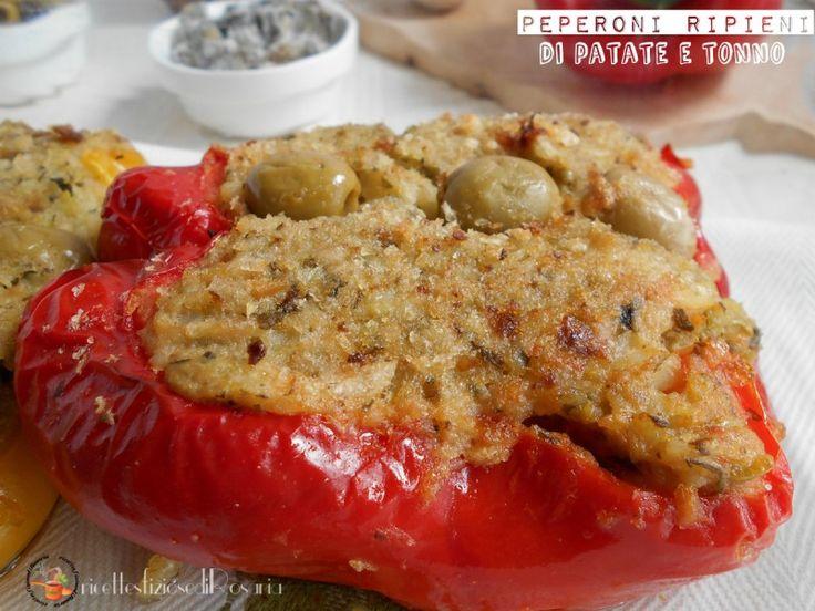 I peperoni ripieni di patate e tonno sono un secondo estivo che può essere mangiato sia caldo che freddo...1 peperone rosso 1 peperone giallo 6 patate medie