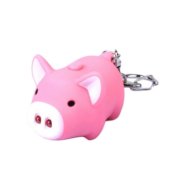 Cartoon Little Pig Design LED Keychain with Sound Flashlight Kid Emergency torch Animal pig Keyring porte clef Wholesale