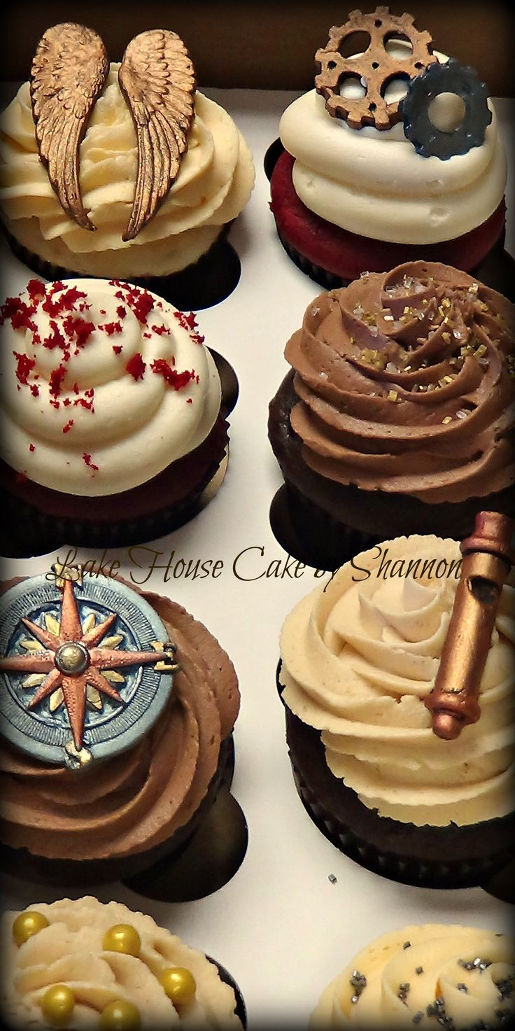 Steampunk steam punk cupcakes wings whistle compass gold silver bronze copper wedding Lake House Cake by Shannon