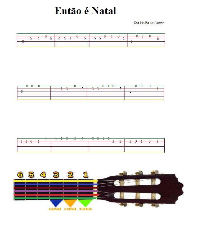 Para tocar essa música basta observar as cores das cordas do violão e relacionar com as cores das linhas da tablatura. Lembre-se que os números sobre as linhas são referentes as casas do violão. Vo…