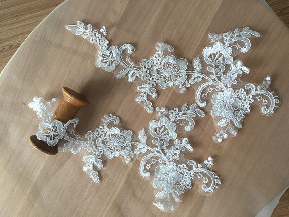 4 Pieces Bridal Alencon Lace Applique in Ivory for by lacetime