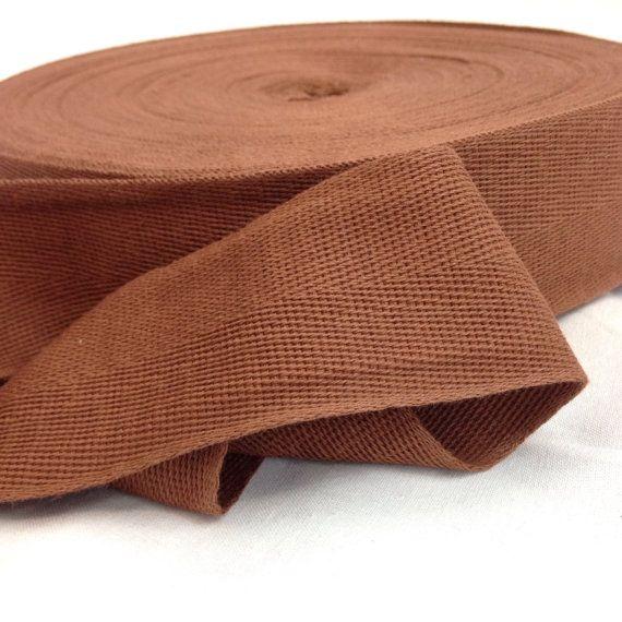 100% Cotton Herringbone Twill Tape. Color: PMS 477 Chocolate Brown Width: 2