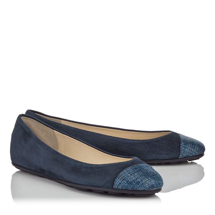 Gaze Ballerina Flats in Navy Suede with Metallic Denim Fabric Toe Cap.