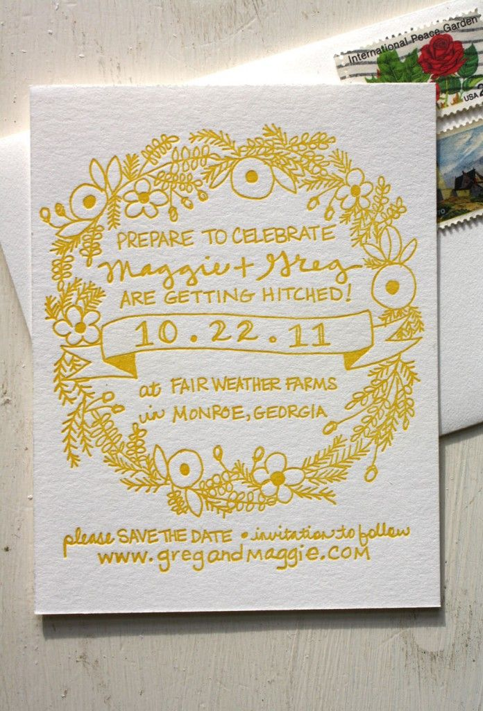 yellow u0026 handwritten save the date smitten