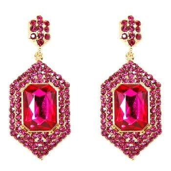 Talullah Tu - Fuchsia Crystal Drop Earrings