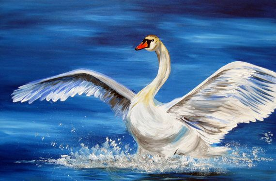 Christmas present, painting of a swan, large painting for hanging above bed, huge painting for hanging above couch, abstract art, 36″ x 24″