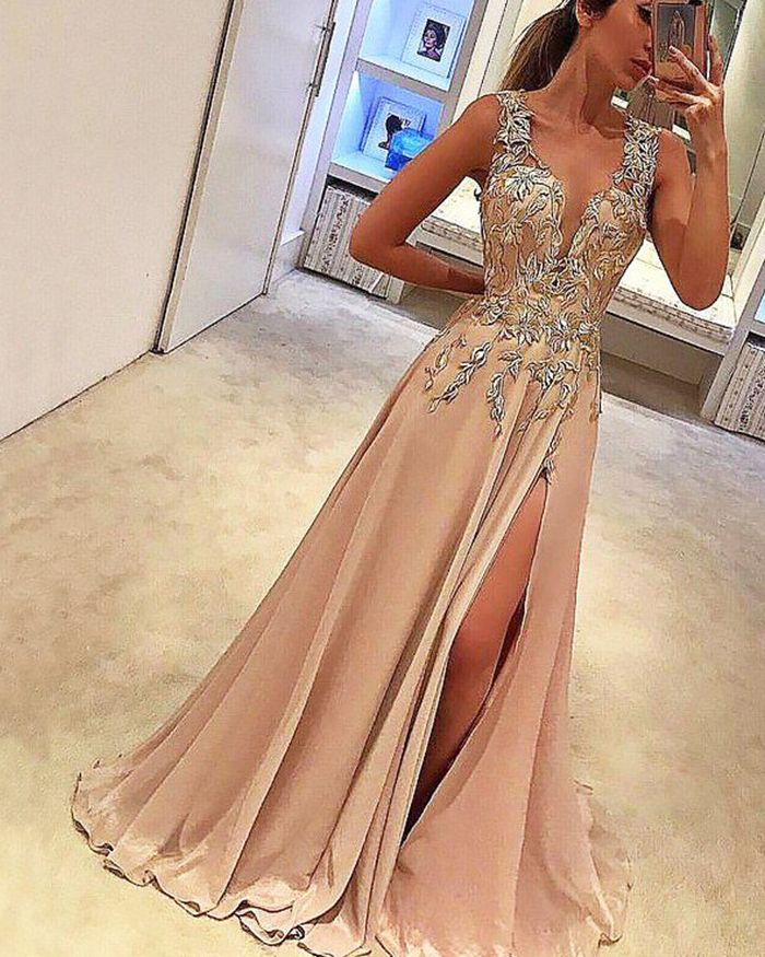 347d0f9a032 Deep V-neck Lace Appliqued Blush Pink Satin Prom Dress with Side ...