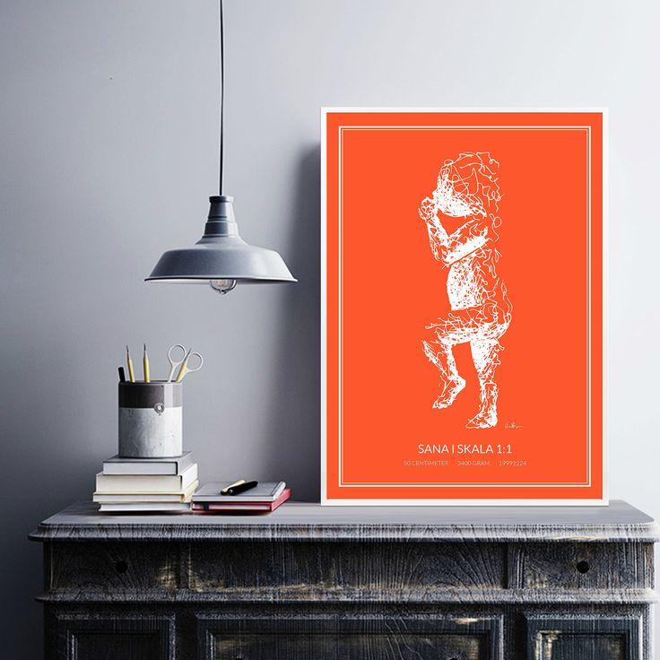 Poster 2, white/orange