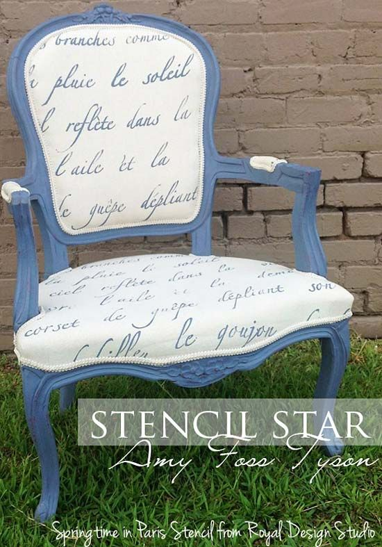 Stenciled chair. Stencil project on chair fabric using our Springtime in Paris wall stencil. http://www.royaldesignstudio.com/