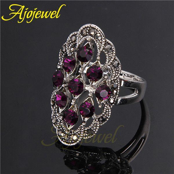 Ajojewel marca mulheres Anel 18 K branco banhado a ouro roxo / preto cristal moda em Anéis de Jóias no AliExpress.com | Alibaba Group