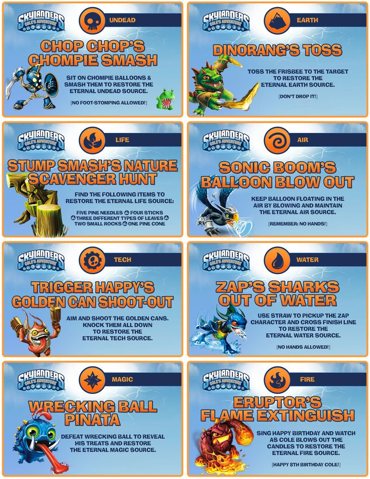 Skylanders Party - Elements Games/Activities  Signs (8)