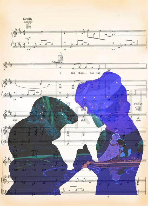 Aladdin and Jasmine Art Print