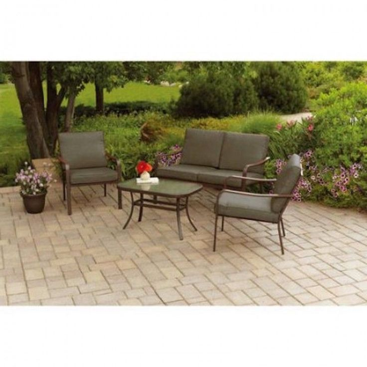 4 piece Metal Conversation Sets Outdoor Garden Brown Cushions Patio Table Chairs: $295.82End Date: Feb-07 06:09Buy It Now for… #eBay #Amazon