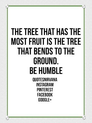 The tree that has the most fruit is the tree that bends to the ground. Be Humble. #quote