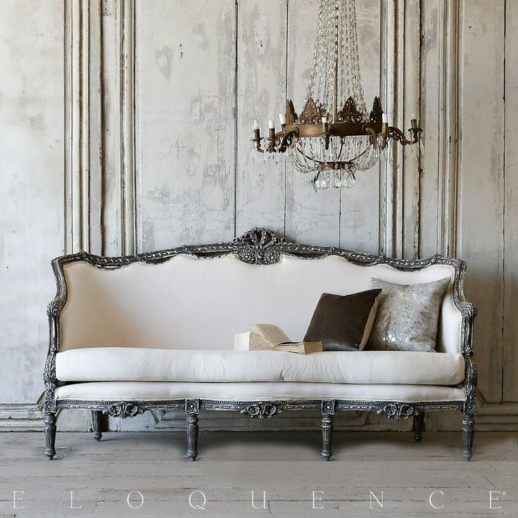One of a Kind Vintage French Ribbon Carved Louis XVI Style Settee