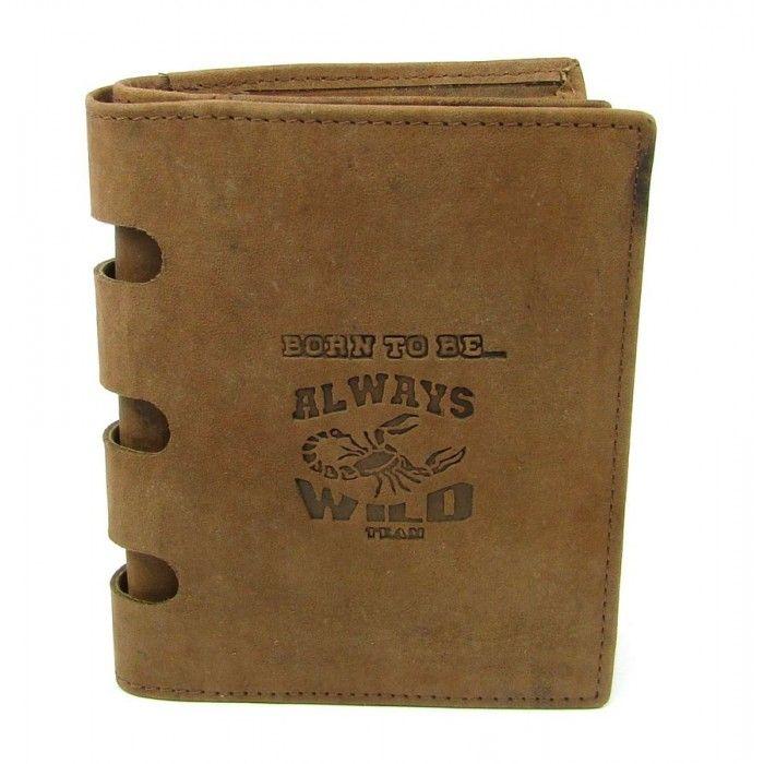 Tmavě hnědá kožená peněženka pánská - peněženky AHAL