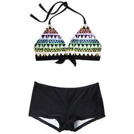 Girls' 2-Piece Halter Geometric Print Bikini Swimsuit Set