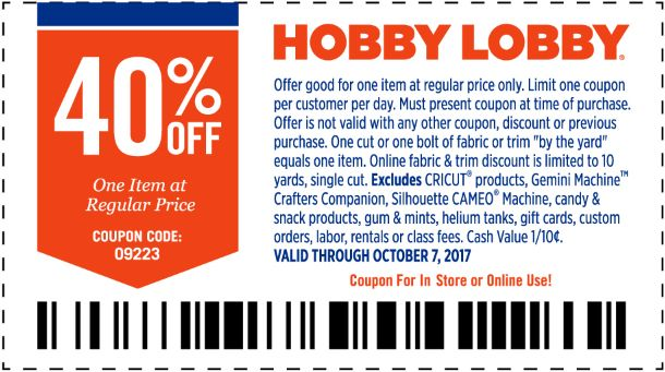 40% Off Hobby Lobby Coupon, 2017 Promo Codes, Weekly Ad